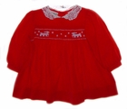 Polly Flinders Red Smocked Dress with Embroidered Reindeer