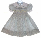 """<img src=""""https://p11.secure.hostingprod.com/@grammies-attic.com/ssl/images/blue-sold-1.gif""""> Polly Flinders Smocked Dress with Violet and Yellow Flowers"""