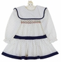 "<img src=""https://p11.secure.hostingprod.com/@grammies-attic.com/ssl/images/blue-sold-1.gif""> Polly Flinders White and Navy Dotted Smocked Dress with Middy Style Waist"