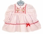 Polly Flinders White Dotted Smocked Baby Dress with Poinsettia Embroidery