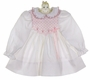 Polly Flinders White Dotted Smocked Dress with Pink Embroidery