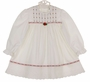 Polly Flinders White Dress with Red Ribbon Insertion and Red Embroidered Flowers