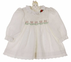 """<img src=""""https://p11.secure.hostingprod.com/@grammies-attic.com/ssl/images/blue-sold-1.gif""""> Polly Flinders White Smocked Dress with Red and Green Embroidery"""