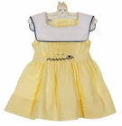 Polly Flinders Yellow Striped Seersucker Smocked Dress with Sailboat Embroidery