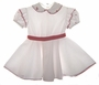 "<img src=""https://p11.secure.hostingprod.com/@grammies-attic.com/ssl/images/blue-sold-1.gif""> Retro 1940s White Toddler Dress with Red Rickrack Trim"