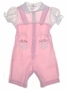 "<img src=""https://p11.secure.hostingprod.com/@grammies-attic.com/ssl/images/blue-sold-1.gif""> Retro 1950s Pink Baby Romper with Rosebud Print Sleeves and Embroidery"