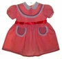 "<img src=""https://p11.secure.hostingprod.com/@grammies-attic.com/ssl/images/blue-sold-1.gif""> Retro 1950s Red Striped Dress with Eyelet Trimmed Yoke and Pockets"