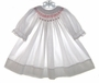 "<img src=""https://p11.secure.hostingprod.com/@grammies-attic.com/ssl/images/blue-sold-1.gif""> Smockery White Smocked Baby Bishop Dress with Red and Green Embroidery"