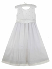 Strasburg White Organza Dress with Ribbon Flowers Centered with Seed Pearls