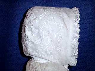 "<img src=""https://p11.secure.hostingprod.com/@grammies-attic.com/ssl/images/blue-sold-1.gif""> Sweet White Eyelet Christening Bonnet"