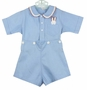 "<img src=""https://p11.secure.hostingprod.com/@grammies-attic.com/ssl/images/blue-sold-1.gif""> Vintage 1930s Blue Button on Shorts Set with Bunny in Pocket"
