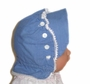 "<img src=""https://p11.secure.hostingprod.com/@grammies-attic.com/ssl/images/blue-sold-1.gif""> Vintage 1930s Blue Buttoned Sunbonnet with Tatted Edging"