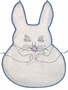 "<img src=""https://p11.secure.hostingprod.com/@grammies-attic.com/ssl/images/blue-sold-1.gif""> Vintage 1930s Large White Cotton Rabbit Shaped Bib with Embroidery"