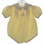 "<img src=""https://p11.secure.hostingprod.com/@grammies-attic.com/ssl/images/blue-sold-1.gif""> Vintage 1930s Yellow Baby Romper with Bunny Embroidery"