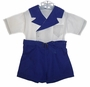 "<img src=""https://p11.secure.hostingprod.com/@grammies-attic.com/ssl/images/blue-sold-1.gif""> Vintage 1940s Blue and White Button On Shorts Set"