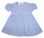 "<img src=""https://p11.secure.hostingprod.com/@grammies-attic.com/ssl/images/blue-sold-1.gif""> Vintage 1940s Blue Smocked Baby Dress with Lace Trimmed Collar and Yoke"