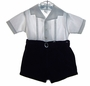 "<img src=""https://p11.secure.hostingprod.com/@grammies-attic.com/ssl/images/blue-sold-1.gif""> Vintage 1940s Navy and White Button On Shorts Set"