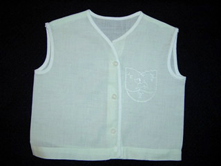 """<img src=""""https://p11.secure.hostingprod.com/@grammies-attic.com/ssl/images/blue-sold-1.gif""""> Vintage 1940s Palest Green Diaper Shirt with Baby Lamb Embroidery"""