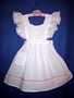 "<img src=""https://p11.secure.hostingprod.com/@grammies-attic.com/ssl/images/blue-sold-1.gif""> Vintage 1940s White Batiste Pinafore with Red Trim for Little Girls"