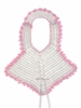 "<img src=""https://p11.secure.hostingprod.com/@grammies-attic.com/ssl/images/blue-sold-1.gif""> Vintage 1940s White Crocheted Bib with Pink Crocheted Edging"