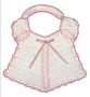 "<img src=""https://p11.secure.hostingprod.com/@grammies-attic.com/ssl/images/blue-sold-1.gif""> Vintage 1940s White Crocheted Bib with Pink Satin Ribbons"