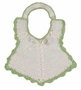 "<img src=""https://p11.secure.hostingprod.com/@grammies-attic.com/ssl/images/blue-sold-1.gif""> Vintage 1940s White Crocheted Bib with Ribbon Insertion and Green Edging"