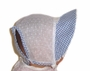 "<img src=""https://p11.secure.hostingprod.com/@grammies-attic.com/ssl/images/blue-sold-1.gif""> Vintage 1940s White Dotted Swiss Baby Bonnet with Blue Gingham Trim"