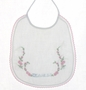 "<img src=""https://p11.secure.hostingprod.com/@grammies-attic.com/ssl/images/blue-sold-1.gif""> Vintage 1940s White Embroidered Bib with Dearest Embroidery and Pink Edging"