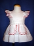 "<img src=""https://p11.secure.hostingprod.com/@grammies-attic.com/ssl/images/blue-sold-1.gif""> Vintage 1940s White Pinafore with Red Ruffled Trim"