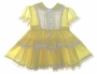 "<img src=""https://p11.secure.hostingprod.com/@grammies-attic.com/ssl/images/blue-sold-1.gif""> Vintage 1950s C. I. Castro Ruffled Yellow Dotted Toddler Dress"