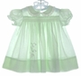 "<img src=""https://p11.secure.hostingprod.com/@grammies-attic.com/ssl/images/blue-sold-1.gif""> Vintage 1950s Nannette Pale Green Smocked Dress with Floral Applique"