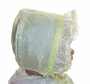 "<img src=""https://p11.secure.hostingprod.com/@grammies-attic.com/ssl/images/blue-sold-1.gif""> Vintage 1950s Pale Yellow Organdy Baby Bonnet with Lacy Ruffle"