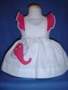 "<img src=""https://p11.secure.hostingprod.com/@grammies-attic.com/ssl/images/blue-sold-1.gif""> Vintage 1950s White Pinafore with Elephant Applique for Babies"