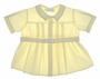 Vintage 1960s Pale Yellow Feltman Brothers Belted Diaper Shirt with Fagoted Collar