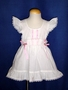 "<img src=""https://p11.secure.hostingprod.com/@grammies-attic.com/ssl/images/blue-sold-1.gif""> Vintage 1960s White Dotted Pinafore with Pink Satin Ribbons"