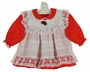 """<img src=""""https://p11.secure.hostingprod.com/@grammies-attic.com/ssl/images/blue-sold-1.gif"""">  Vintage Alexis Red Dress with White Lace Trimmed Pinafore"""