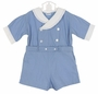 """<img src=""""https://p11.secure.hostingprod.com/@grammies-attic.com/ssl/images/blue-sold-1.gif""""> Heirloom 1930s Blue Cotton Button on Shorts Set with Lace Trimmed White Collar"""