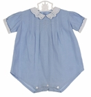 Heirloom 1930s Blue Cotton Romper with White Embroidered Collar and Cuffs
