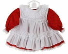 Vintage Bryan Red Cotton Holiday Print Ruffled Dress with White Lace Trimmed Pinafore