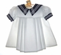 Vintage Little Evelyn White Sailor Dress with Navy Collar for Babies and Toddlers