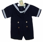 Vintage Navy Blue Sailor Shortall with White Braid Trim