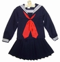 Vintage Navy Blue Sailor Suit with Pleated Skirt