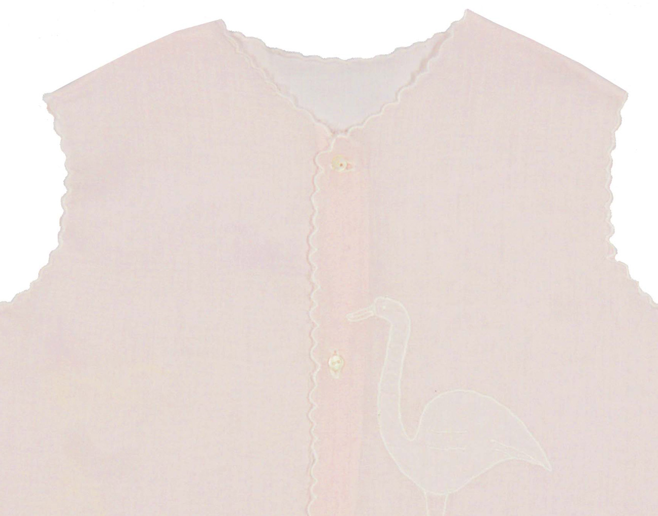 Vintage s pale pink cotton lawn diaper shirt with white