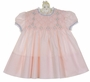 Vintage 1960s Polly Flinders Pink Smocked Dress with Blue Embroidery and Lace Trim