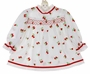 Vintage 1960s Polly Flinders White Smocked Dress with Red Flocked Strawberries