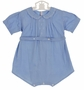 Heirloom 1930s Feltman Brothers Unworn Blue Romper with White Embroidery