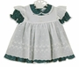 Vintage Unworn Nannette Green Flowered Dress with White Embroidered Eyelet Pinafore