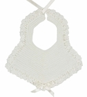Vintage 1950s Unworn White Cotton Crocheted Bib with White Ribbon Insertion