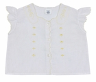 Vintage 1960s White Cotton Blend Diaper Shirt with Angel Sleeves and Yellow Embroidery