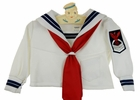 Vintage White Long Sleeved Sailor Shirt with Navy Braid Trim